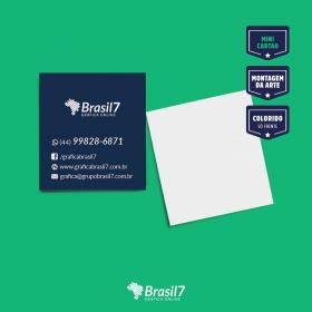 Mini cartão de visita Couche 250g 4,2x4,8 cm 4x0 Impressão só frente verniz total frente Corte Reto
