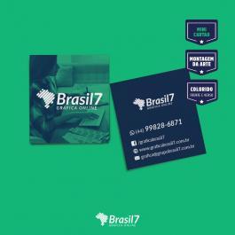 Mini cartão de visita Couche 250g 4,2x4,8 cm 4x4 colorido frente e verso verniz total frente Corte Reto