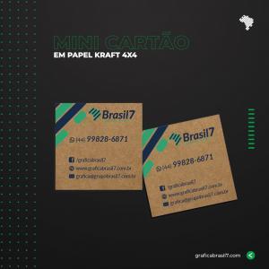 Mini cartão Kraft 4,5x5 cm Kraft 300g 4,5x5 cm 4x4 impressão colorida frente e verso Sem Verniz Corte Reto