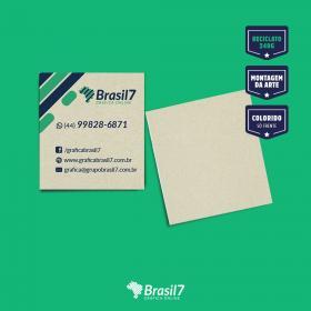 Mini cartão reciclado reciclato 240g 4,2x4,8 4x0 colorido só frente sem verniz Corte Reto