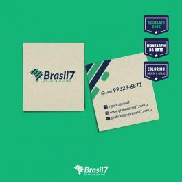 Mini cartão reciclado reciclato 240g 4,2x4,8 4x4 colorido frente e verso sem verniz Corte Reto