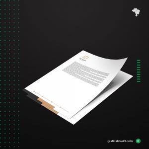 Papel Timbrado A4 personalizado Sulfite 120g 21x29,7 4x0 Impressão frente colorida, verso branco