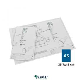 Plotagem de Projetos - Plotagem Traços A3 Sulfite 75g A3 - 29x42 cm 4x0 Impressão frente colorida Sem Verniz Incluso Material Dobrado Orientação Paisagem