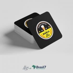 Porta Copos personalizado Couche 250g 8,5x8,5 4x0 Impressão frente colorida Verniz total frente