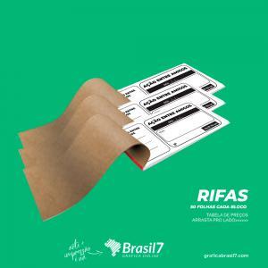 Rifa 15x7,5 cm - Impressão Preto e Branco Apergaminhado 75g 15x7,5 1x0 Impressão preto e branco  50x1 via - Cada Bloco com 50 folhas, Picote digital Numeração