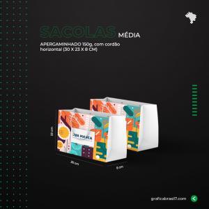 Sacolas Média Horizontal 30x23 cm Apergaminhado 150g C30 x A23 x L8 cm 4x0 Impressão Colorida / Digital e Offset sem enobrecimento Cordão e Ilhós