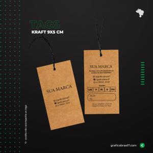 Tags em papel Kraft - Reto 9x5cm Kraft 300g 9x5 cm 4x4 impressão colorida frente e verso Sem Verniz Furo 3 mm