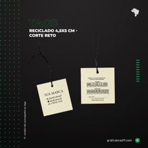 Tags 4,5x5cm Reciclado - Reto Reciclato 240g 4,5x5 cm 4x4 impressão colorida frente e verso Sem Verniz Corte Reto Furo 3mm