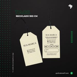 Tags 9X5CM Reciclado - Chanfrado Reciclato 240g 9x5 cm 4x4 impressão colorida frente e verso Sem Verniz Corte Chanfrado