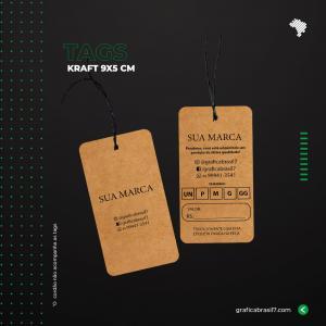 Tags em papel Kraft - 4 cantos arredondados 9x5cm Kraft 300g 9x5 cm 4x4 impressão colorida frente e verso Sem Verniz Furo 3 mm