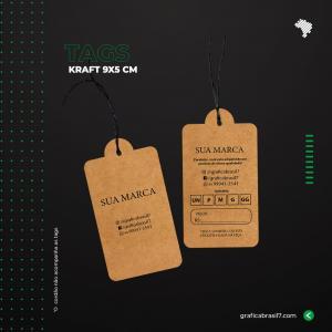 Tags em papel Kraft - Box 9x5cm Kraft 300g 9x5 cm 4x4 impressão colorida frente e verso Sem Verniz Furo 3 mm