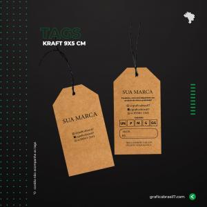 Tags em papel Kraft - Chanfrado 9x5cm Kraft 300g 9x5 cm 4x4 impressão colorida frente e verso Sem Verniz Furo 3 mm