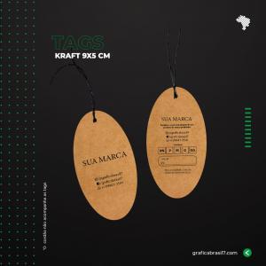 Tags em papel Kraft - Oval 9x5cm Kraft 300g 9x5 cm 4x4 impressão colorida frente e verso Sem Verniz Furo 3 mm