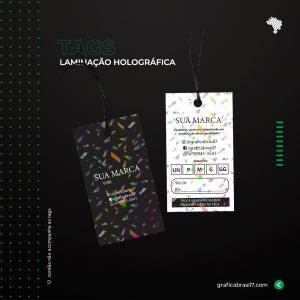 Tags Holográfica - RETO 9x5 cm Couche 250g 9x5 cm 4x4 impressão colorida frente e verso Laminação Holográfica Corte Reto Furo 5mm